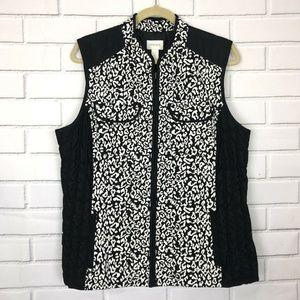 Chicos Women's Size 3 (16) XL Leopard Vest Quilted